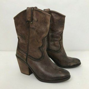 Lucky Brand Elle Boots 7.5 Brown Leather Western